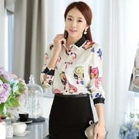 Free Shipping ! Real Shot Spring 2015 Korean Ladies Slim Beauty Print Women's Blouses 6695#
