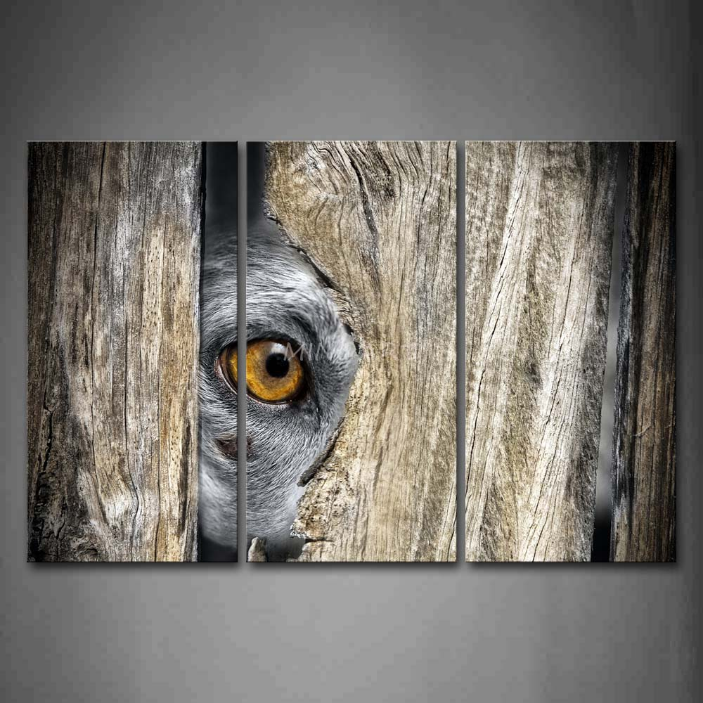 3 piece wall art painting dog hide in wood only reveal eye for Mural on wood