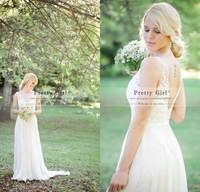 2015 Vestido De Noiva Romantic Lace Boho Bohemian Wedding Dresses Sheer Scoop Appliques Backless Fashionable Cheap Wedding Gowns