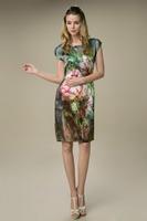 2015New Fashion Vintage Summer Mulberry Silk Dress Big Yards Slik Dress Flower Printting O-Neck Short Sleeve Knee-Length Dresses