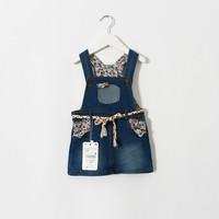 New 2015 foreign trade girls denim suspender skirt baby girls overalls with belt   5pcs/lot