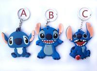 10pcs/lot wholesale cartoon Soft PVC Stitch double-sided key ring key chains