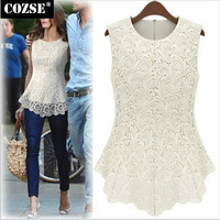 New 2015 Casual  Summer Slim Size Sleeveless Lace Patchwork  Women T-Shirts  European  Style Free Shipping L3110
