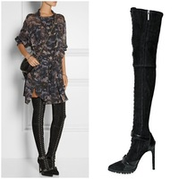 New Designer 2015 Black Suede Ostrich Thigh Boots High Heels Ankle Buckle Over The Knee Boots Drop Shipping