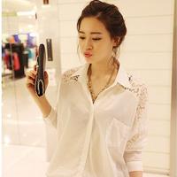JJS0632 Plus Size New 2015 Spring Korean  Women  Blouse Bat Sleeve Long Sleeve Casual Shirt Blusas Femininas