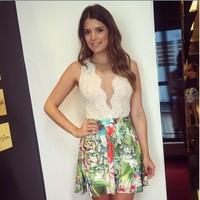 vestidos 2015 explosion models AliExpress stitching lace straps sleeveless V- neck dress color print dress vestido de festa