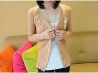 2015 New Solid Twisted Kintted Sweater Outwear Long Sleeve V-Neck Women Knitwear Cardigans yw14078