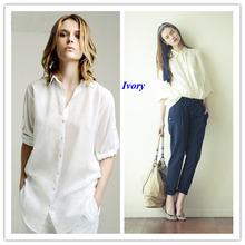 100% seda amoreira feminino camisa básica de manga comprida camisa de seda pura mulheres 100% seda turn down collar mulheres blusas blusa de seda(China (Mainland))