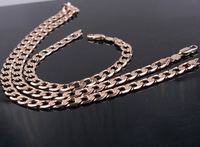 """18k rose gold filled Men's and Women's Necklace Bracelet Set Solid Curb Chain Jewelry Set 24"""" 8mm"""