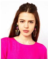 C25R2 2015 Fashion geometric earrings for women crystal luxury sparkling big gold drop earrings