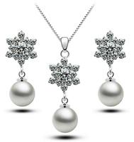 Valentine's day Gift! women Austrian crystal 925 sterling silver AAA zircon rhinestones necklace earrings pearl jewelry sets,113