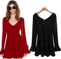 New Fashion 2015 Elegant Celebrity V-neck Long Sleeve dresses solid color casual Dress