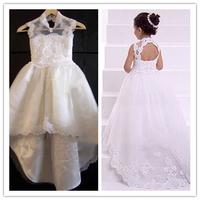 76 2015 short front long back backless lace flower girl dresses for weddings girls pageant dresses prom dress custom made 2015