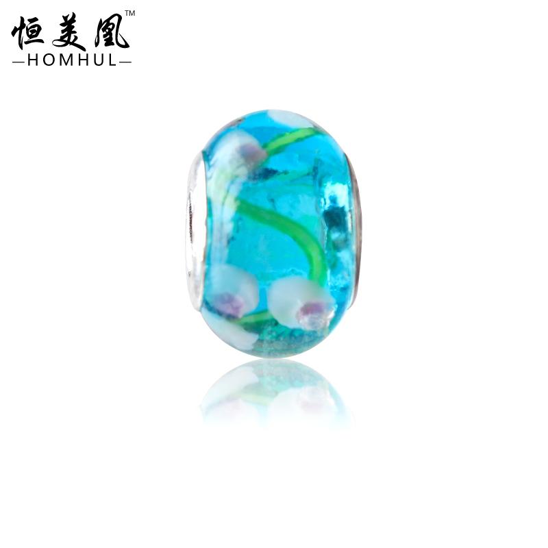 20pcs lot free shipping 925 sterling silver DIY Blue Murano Glass Beads Charms fit pandora Bracelets