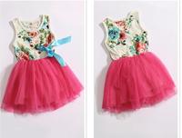 2015 Summer Girls Voile Floral Dress Fashion Tutu Retro Bow Sleeveless Dress