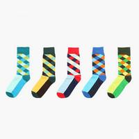 1 set = 5 pairs = 10 piece British style retro hit color socks barreled lozenge male sports socks