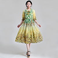 2015 New Summer Chiffon Dress for Women Bohemian Leopard Print Woman Plus Size Casual Dress Lady Tunic Vestido De Renda Yellow
