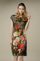 2015 New Fashion Vintage Summer Mulberry Silk Dress Big Yards Slik Dress Flowers O-Neck Short Sleeve Knee-Length Sashes Dresses