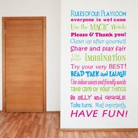 Playroom Rules - Playroom Rules Wall Decal - Classroom Rules - Kids Playroom decal - Kids decal  8332