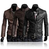 Cool Men's Slim Fit PU Leather Coats Fashion Luxury Short Leather Biker Jacket
