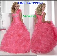 77 2015 shoulder flowers beads ball gown flower girl dresses for weddings girls pageant dresses prom dress custom made 2015
