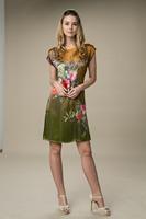 2015 New Vintage Summer Mulberry Silk Dress Big Yards Slik Dress Peony Flower O-Neck Short Sleeve Knee-Length Sashes Dresses