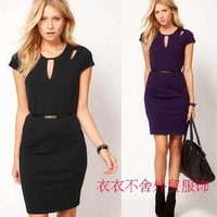 women dress short sleeve spring autumn fashion short-sleeve slim hip slim one-piece dress hollow out with belt