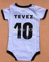 #10 TEVEZ Jersey Baby football clubs kids soccer jerseys,100% Cotton 0-3 age Newborn infants BB football shirt bodysuit