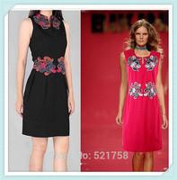 [NWT] Free Shipping 2015 Ladies Euro Fashion High-end Embroidery Dress Women dress