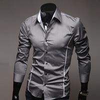 2015 Spring Hot sale Free Shipping New Mens Shirts Casual Slim Fit Stylish Mens Dress Shirts