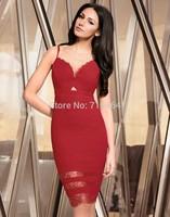 2015 new red dress harness dress V-shaped stitching