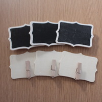 6 Pieces Natural Vintage Fancy Mini Wooden Blackboard Wordpad Chalkboard Party Wedding Card Clip