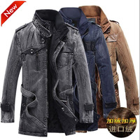 Casacos Masculino 2014 Designer Jeans Denim Jacket Men Clothing Zipper Cotton Thick Winter Fashion Jackets and Coats Outerwear