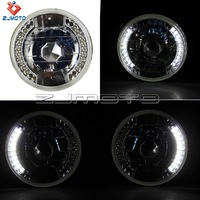 "H4 Super White light 55 - WT 5"" Round White LED Halo Rims Sealed Beam Head Lights Lamp H4 CA1 for Universal Motorcycle"