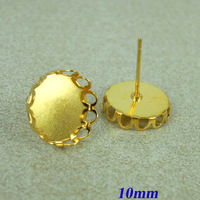 10mm New Gold tone Plated Copper Blank Bases Round Hollow Wall Bezel Cabochon style Stud Earrings Settings Findings Wholesale