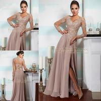 Sexy Beading Lace V Neck Long Sleeve A Line Prom Dress Long Out Slit Chiffon Evening Dress 2015