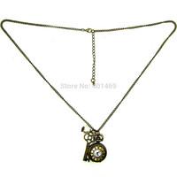 Hot Sale Bronze pearl & key Retro Vintage Pocket Watch Steampunk Chain Necklace Quartz Clock Pendant jewelry