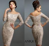Off The Shoulder Long Sleeve Sheath Cocktail Dress Sexy Short Formal Evening Dress 2015