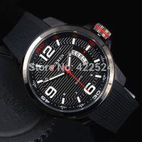 Sport Man Watch Black watch Big Hours Auto Date Male Quartz Curren Watch Rubber Black Wriswatch military watches Free shipping