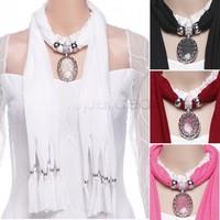 2015 New Women Lady Scarves Hollow Flower Rhinestone Soft Crystal Pendant Necklace Scarf Shawl Female b4