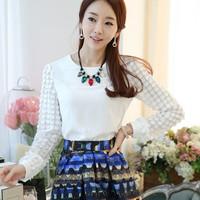 Korean Ichthyosis Patchwork Chiffon Fashion Tops , Factory Direct 2015 Spring Women's Shirts Free Shipping 6699