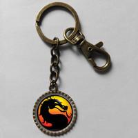 Wholesale 6$ mortal kombat Keyring pendant Game Key Chain Art Glass Pendant Cute Keychain Gift lot FREESHIPPING