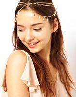 NEWS fashion  stylish diamond pendant chain leaves multiple stream sangda women headband  band hair band H0006
