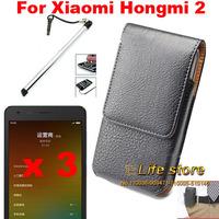 Vertical Belt Clip Case Mobile Phone Case Leather Case + Screen Protector + Touch Pen For Xiaomi Hongmi 2 Redmi 2