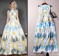 2015 Europe Summer Runway Designer Dress Women's High Quality Elegant Sleeveless Fancy Flower Printed Maxi Long Dress