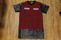 Westcoast Hiphop Rap Leather Tartan Extended Lengthen T-Shirt Side gold Zipper Lengthen T Shirt HBA Pyrex