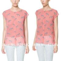 Fashion Brand Designer Top Pink Chiffon Tank Tops for Women Zebra Print Tees Casual T Shirt Womens Summer Clothing