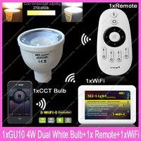 1x GU10 Mi.Light 4W Color Temperature Adjustable Dual White CW/WW CCT LED Bulb AC85-265V+1x 2.4G Wireless Remote+1x WiFi Hub