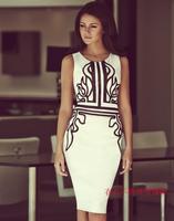 fashion women's dress elegant sleeveless o-neck slim one-piece dress white brand