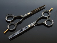 Black  hair shear and thinning scissors 5.5 INCH Clean ring 440C Simple packing good quality 5Pairs/Lot NEW